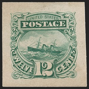 "Sale Number 1197, Lot Number 1742, 12c ""Adriatic"" 1869 Pictorial Issue, Essays & Proofs (Scott 117-E, 117P)12c Green, Panama-Pacific Small Die Proof on Wove (117P2a), 12c Green, Panama-Pacific Small Die Proof on Wove (117P2a)"