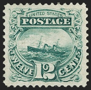 "Sale Number 1197, Lot Number 1747, 12c ""Adriatic"" 1869 Pictorial Issue, Stamps (Scott 117)12c Green (117), 12c Green (117)"