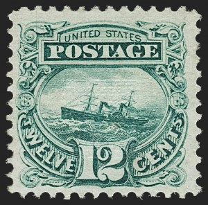 "Sale Number 1197, Lot Number 1751, 12c ""Adriatic"" 1869 Pictorial Issue, Stamps (Scott 117)12c Green (117), 12c Green (117)"
