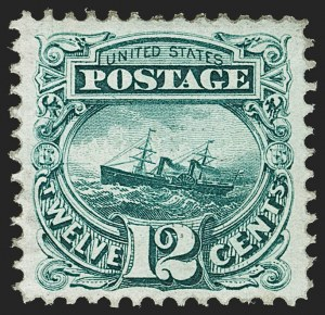 "Sale Number 1197, Lot Number 1753, 12c ""Adriatic"" 1869 Pictorial Issue, Stamps (Scott 117)12c Green (117), 12c Green (117)"