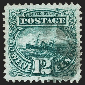 "Sale Number 1197, Lot Number 1755, 12c ""Adriatic"" 1869 Pictorial Issue, Stamps (Scott 117)12c Green (117), 12c Green (117)"