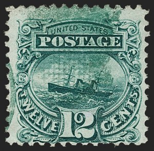 "Sale Number 1197, Lot Number 1756, 12c ""Adriatic"" 1869 Pictorial Issue, Stamps (Scott 117)12c Green (117), 12c Green (117)"