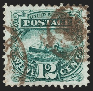 "Sale Number 1197, Lot Number 1757, 12c ""Adriatic"" 1869 Pictorial Issue, Stamps (Scott 117)12c Green (117), 12c Green (117)"