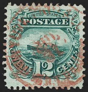 "Sale Number 1197, Lot Number 1758, 12c ""Adriatic"" 1869 Pictorial Issue, Stamps (Scott 117)12c Green (117), 12c Green (117)"