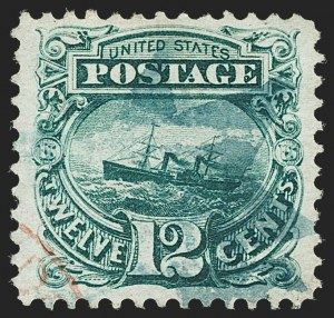 "Sale Number 1197, Lot Number 1760, 12c ""Adriatic"" 1869 Pictorial Issue, Stamps (Scott 117)12c Green (117), 12c Green (117)"