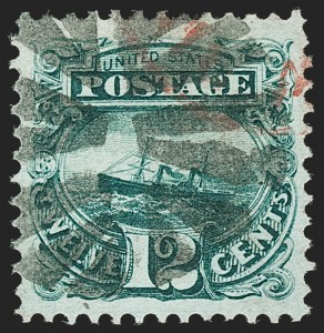 "Sale Number 1197, Lot Number 1761, 12c ""Adriatic"" 1869 Pictorial Issue, Stamps (Scott 117)12c Green (117), 12c Green (117)"