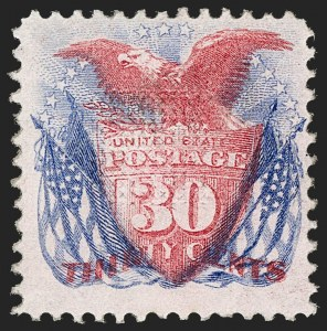 Sale Number 1197, Lot Number 1770, 15c-90c 1869 Pictorial Issue (Scott 118-122)30c Ultramarine & Carmine (121), 30c Ultramarine & Carmine (121)
