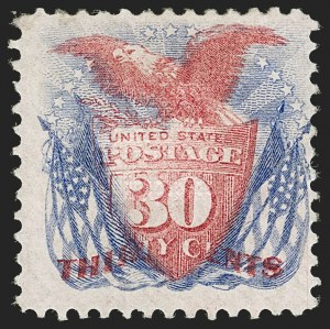 Sale Number 1197, Lot Number 1771, 15c-90c 1869 Pictorial Issue (Scott 118-122)30c Ultramarine & Carmine (121), 30c Ultramarine & Carmine (121)