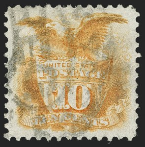 Sale Number 1197, Lot Number 1782, 1875 Re-Issue of 1869 Pictorial Issue (Scott 123-133a)10c Yellow, Re-Issue (127), 10c Yellow, Re-Issue (127)