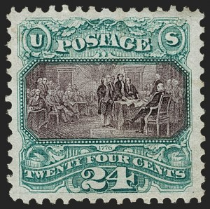 Sale Number 1197, Lot Number 1786, 1875 Re-Issue of 1869 Pictorial Issue (Scott 123-133a)24c Green & Violet, Re-Issue (130), 24c Green & Violet, Re-Issue (130)
