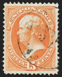 Sale Number 1197, Lot Number 1795, 1870-71 National Bank Note Co. Issue (Scott 134-155)15c Orange, H. Grill (141), 15c Orange, H. Grill (141)