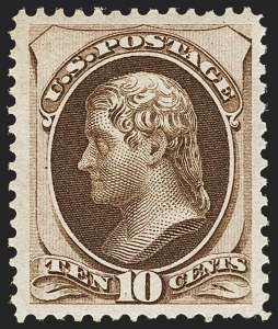 Sale Number 1197, Lot Number 1808, 1873-75 Continental Bank Note Co. Issue (Scott 156-166, 178-179)10c Brown (161), 10c Brown (161)