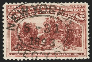 Sale Number 1197, Lot Number 1842, 1893 Columbian Issue (Scott 230-245)$2.00 Columbian (242), $2.00 Columbian (242)