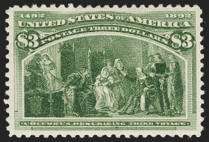 Sale Number 1197, Lot Number 1843, 1893 Columbian Issue (Scott 230-245)$3.00 Columbian (243), $3.00 Columbian (243)