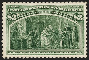 Sale Number 1197, Lot Number 1844, 1893 Columbian Issue (Scott 230-245)$3.00 Olive Green, Columbian (243a), $3.00 Olive Green, Columbian (243a)