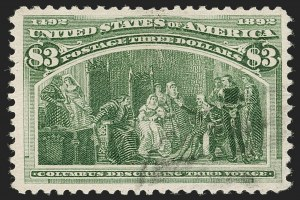 Sale Number 1197, Lot Number 1847, 1893 Columbian Issue (Scott 230-245)$3.00 Olive Green, Columbian (243a), $3.00 Olive Green, Columbian (243a)