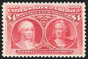 Sale Number 1197, Lot Number 1848, 1893 Columbian Issue (Scott 230-245)$4.00 Columbian (244), $4.00 Columbian (244)