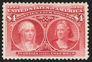 Sale Number 1197, Lot Number 1849, 1893 Columbian Issue (Scott 230-245)$4.00 Columbian (244), $4.00 Columbian (244)