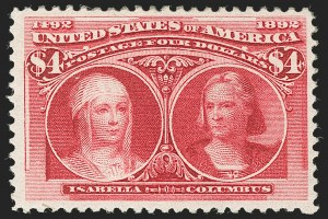 Sale Number 1197, Lot Number 1850, 1893 Columbian Issue (Scott 230-245)$4.00 Columbian (244), $4.00 Columbian (244)