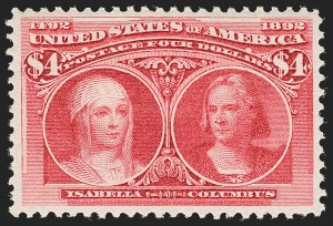 Sale Number 1197, Lot Number 1851, 1893 Columbian Issue (Scott 230-245)$4.00 Columbian (244), $4.00 Columbian (244)