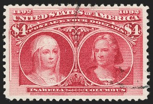 Sale Number 1197, Lot Number 1852, 1893 Columbian Issue (Scott 230-245)$4.00 Columbian (244), $4.00 Columbian (244)