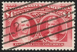 Sale Number 1197, Lot Number 1853, 1893 Columbian Issue (Scott 230-245)$4.00 Columbian (244), $4.00 Columbian (244)