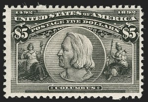 Sale Number 1197, Lot Number 1854, 1893 Columbian Issue (Scott 230-245)$5.00 Columbian (245), $5.00 Columbian (245)