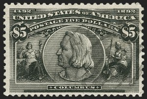 Sale Number 1197, Lot Number 1857, 1893 Columbian Issue (Scott 230-245)$5.00 Columbian (245), $5.00 Columbian (245)