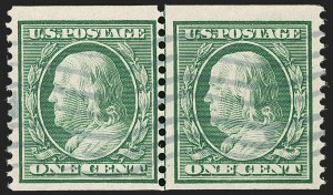 Sale Number 1197, Lot Number 1927, 1908-13 Washington-Franklin Issues (Scott 331-396)1c Green, Coil (352), 1c Green, Coil (352)