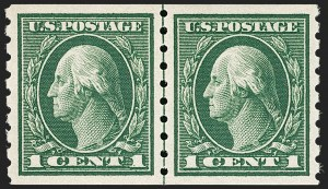Sale Number 1197, Lot Number 1956, 1913-15 Panama-Pacific, 1912-15 Issues (Scott 397-461)1c Green, Coil (412), 1c Green, Coil (412)