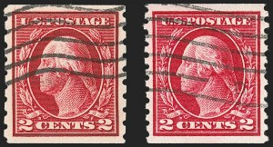 Sale Number 1197, Lot Number 1959, 1913-15 Panama-Pacific, 1912-15 Issues (Scott 397-461)2c Carmine, Perf 8.5 and Perf 10 Coils (413, 444), 2c Carmine, Perf 8.5 and Perf 10 Coils (413, 444)
