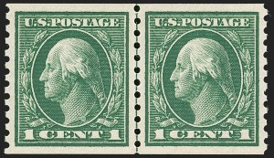 Sale Number 1197, Lot Number 1963, 1913-15 Panama-Pacific, 1912-15 Issues (Scott 397-461)1c Green, Coil (443), 1c Green, Coil (443)