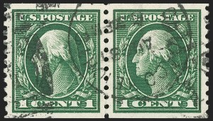 Sale Number 1197, Lot Number 1965, 1913-15 Panama-Pacific, 1912-15 Issues (Scott 397-461)1c Green, Coil (443), 1c Green, Coil (443)
