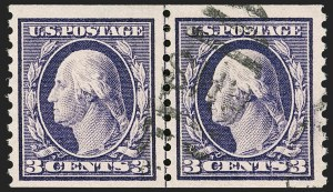 Sale Number 1197, Lot Number 1967, 1913-15 Panama-Pacific, 1912-15 Issues (Scott 397-461)3c Violet, Coil (445), 3c Violet, Coil (445)