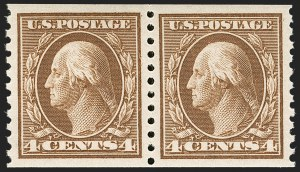 Sale Number 1197, Lot Number 1969, 1913-15 Panama-Pacific, 1912-15 Issues (Scott 397-461)4c Brown, Coil (446), 4c Brown, Coil (446)