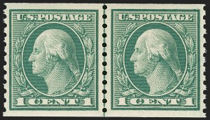Sale Number 1197, Lot Number 1972, 1913-15 Panama-Pacific, 1912-15 Issues (Scott 397-461)1c Green, Coil (452), 1c Green, Coil (452)