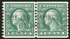 Sale Number 1197, Lot Number 1973, 1913-15 Panama-Pacific, 1912-15 Issues (Scott 397-461)1c Green, Coil (452), 1c Green, Coil (452)