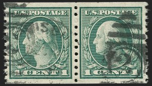 Sale Number 1197, Lot Number 1974, 1913-15 Panama-Pacific, 1912-15 Issues (Scott 397-461)1c Green, Coil (452), 1c Green, Coil (452)