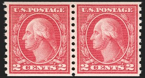 Sale Number 1197, Lot Number 1977, 1913-15 Panama-Pacific, 1912-15 Issues (Scott 397-461)2c Carmine, Ty. III, 4c Brown, Coils (455, 457), 2c Carmine, Ty. III, 4c Brown, Coils (455, 457)
