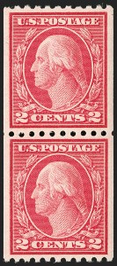 Sale Number 1197, Lot Number 1990, 1916-22 Issues (Scott 462-497)2c Carmine, Ty. II, Coil (487), 2c Carmine, Ty. II, Coil (487)