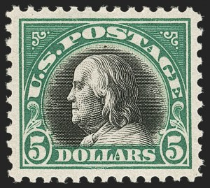 Sale Number 1197, Lot Number 2030, 1917-20 Issues (Scott 498-549)$5.00 Deep Green & Black (524), $5.00 Deep Green & Black (524)
