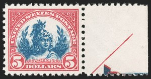 Sale Number 1197, Lot Number 2045, 1922-29 Issues (Scott 551-621)$5.00 Carmine & Blue (573), $5.00 Carmine & Blue (573)