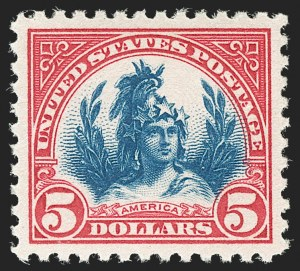Sale Number 1197, Lot Number 2046, 1922-29 Issues (Scott 551-621)$5.00 Carmine & Blue (573), $5.00 Carmine & Blue (573)