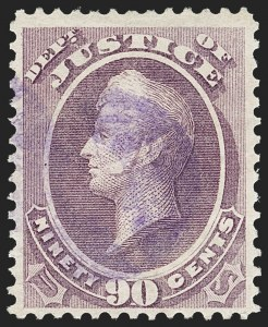 Sale Number 1197, Lot Number 2142, Officials, Newspapers & Periodicals, Parcel Post90c Justice (O34), 90c Justice (O34)