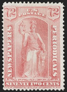 Sale Number 1197, Lot Number 2148, Officials, Newspapers & Periodicals, Parcel Post72c Pale Rose, 1875 Special Printing (PR45), 72c Pale Rose, 1875 Special Printing (PR45)