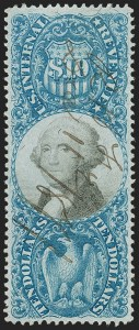 Sale Number 1197, Lot Number 2175, Revenues: Second Issue thru Proprietary, Balances$10.00 Blue & Black, Second Issue (R128), $10.00 Blue & Black, Second Issue (R128)