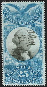 Sale Number 1197, Lot Number 2177, Revenues: Second Issue thru Proprietary, Balances$25.00 Blue & Black, Second Issue (R130), $25.00 Blue & Black, Second Issue (R130)