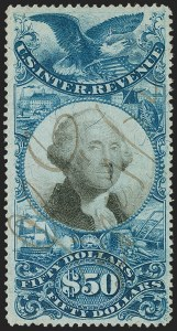 Sale Number 1197, Lot Number 2178, Revenues: Second Issue thru Proprietary, Balances$50.00 Blue & Black, Second Issue (R131), $50.00 Blue & Black, Second Issue (R131)