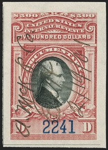 Sale Number 1197, Lot Number 2182, Revenues: Second Issue thru Proprietary, Balances$500.00 Carmine & Lake (R180), $500.00 Carmine & Lake (R180)