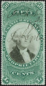 Sale Number 1197, Lot Number 2188, Revenues: Second Issue thru Proprietary, Balances50c Green & Black on Violet Paper, Proprietary (RB8a), 50c Green & Black on Violet Paper, Proprietary (RB8a)